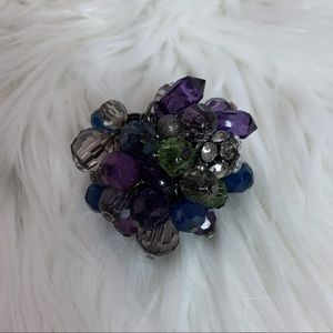 Purple/ blue beaded  elastic fashion ring